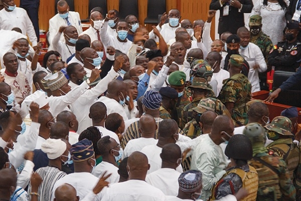 The army had to restore order after a fight broke out in the Ghanaian parliament. Getty.